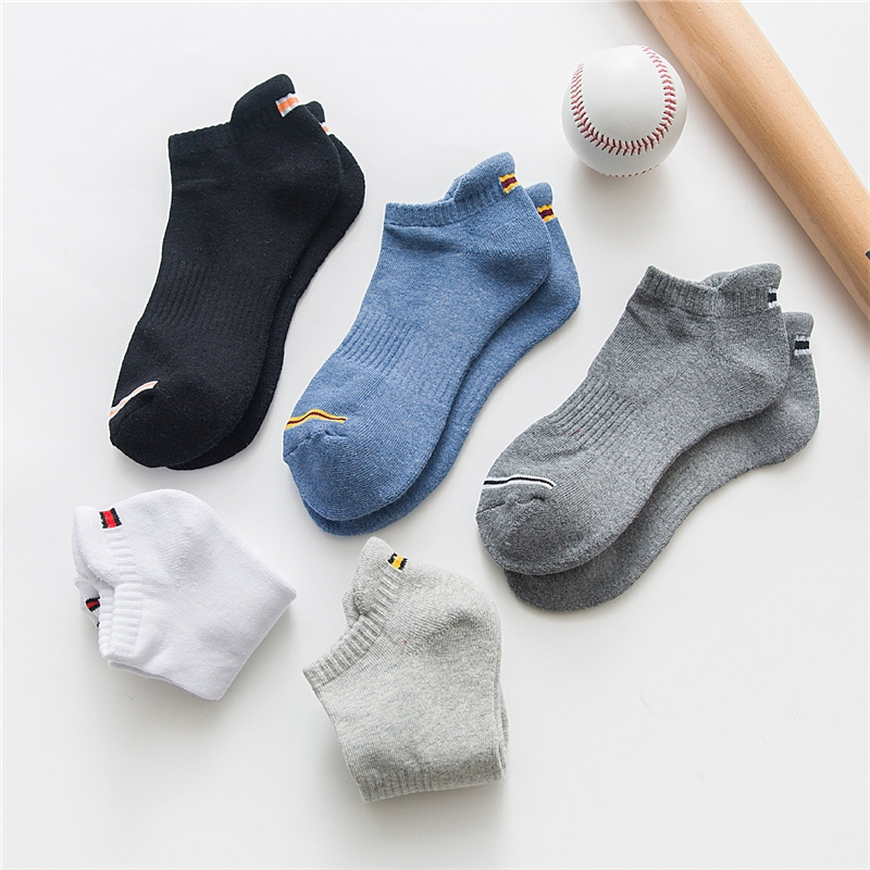Summer Sock Slippers For Men Comfortable Stripe Cotton Sports Socks Short Men's Ankle Socks New
