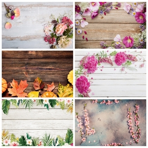 Image 1 - Laeacco Vinyl Backdrops For Photography Christmas Wood Board Flower Petal Party Doll Baby Portrait Photo Background Photo Studio