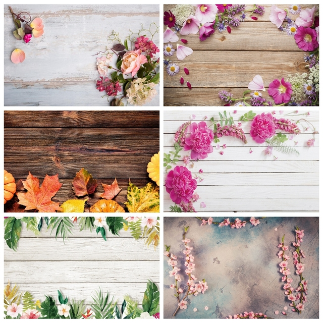 Laeacco Vinyl Backdrops For Photography Christmas Wood Board Flower Petal Party Doll Baby Portrait Photo Background Photo Studio