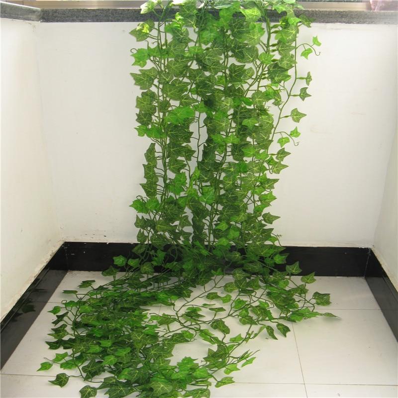 100 шт., 1 шт., 2,4 м, украшение для дома, искусственная гирлянда из листьев плюща, растения, искусственная виноград лоза, листва, цветы, зеленый ве...