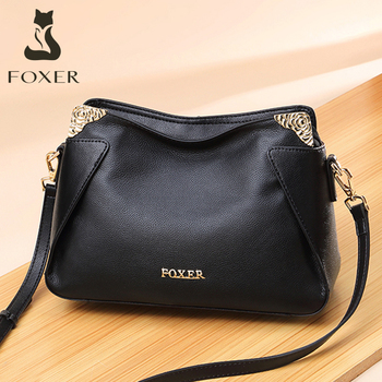 FOXER Brand Women Fashion Crossbody bag Genuine leather Shoulder bags Female Chic Messenger Bag for Lady Stylish Commute Purse foxer brands leather women handbags luxury totes new design women bag fashion lady messenger bags shoulder bag for female
