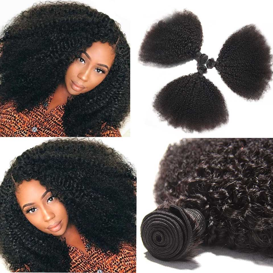 Mongolian Afro Kinky Curly Hair Weave 3 4 Bundles Deal 100% Human Hair Bundles Remy Human Hair Extensions Medium Ratio
