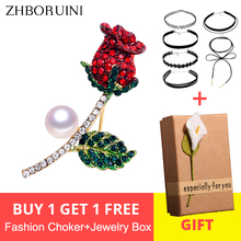 ZHBORUINI High Quality Natural Freshwater Pearl Brooch Pearl Flower Rose Brooch Gold Color Pearl Jewelry For Women Accessories недорго, оригинальная цена