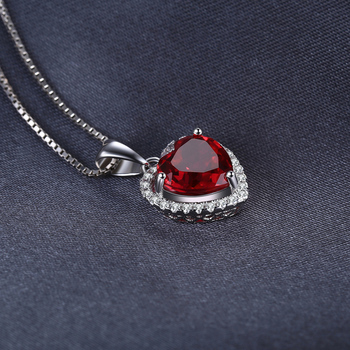 Heart Created Red Ruby Pendant Necklace  1