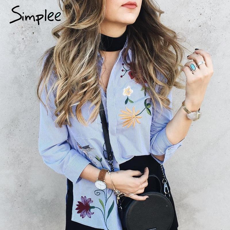 Simplee Embroidery Long Sleeve Blouse Shirt Women Tops 2019 Elegant  Blue Striped Flower Feminine Blouse Chemise Femme Blusas