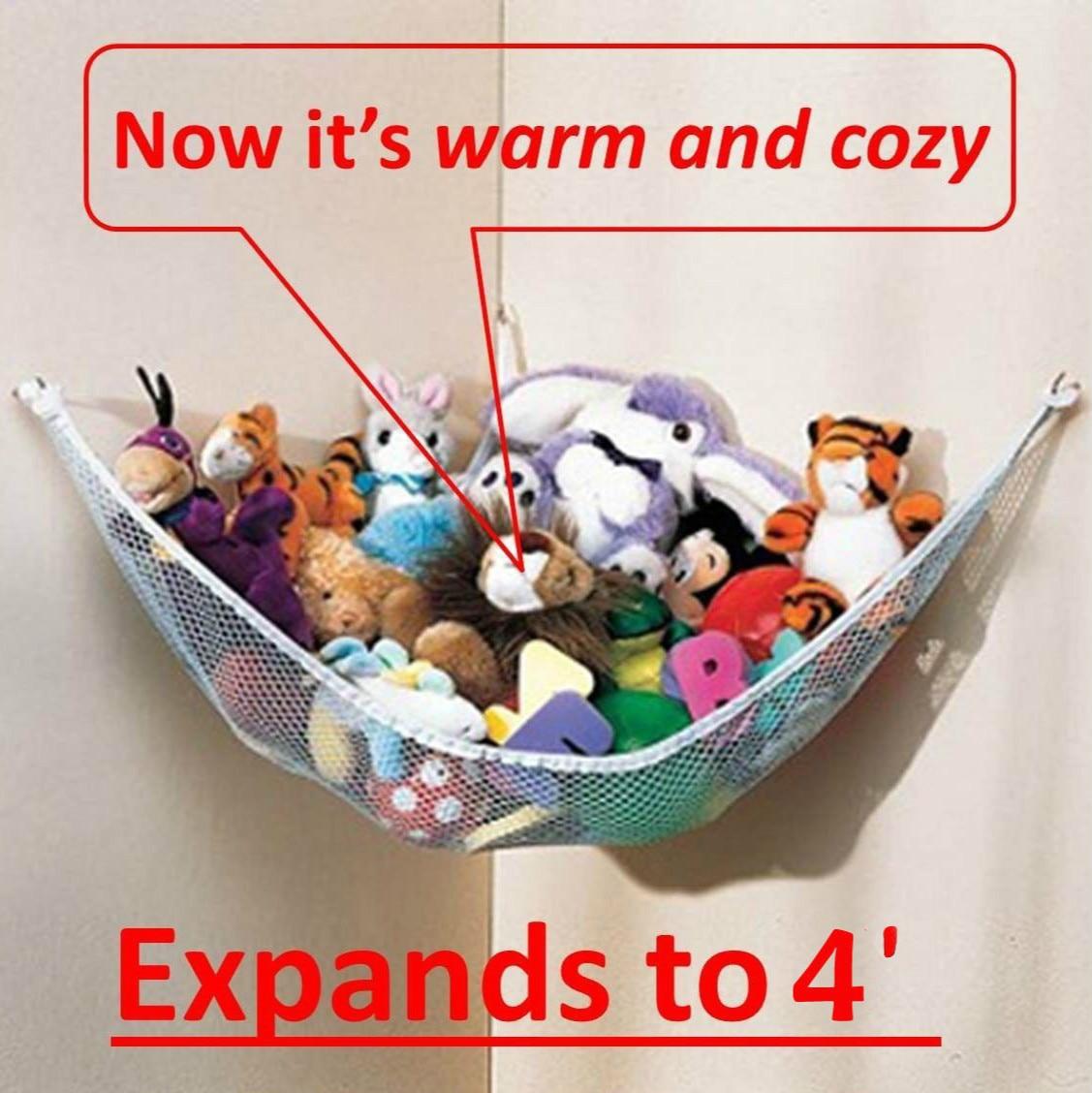 2019 Useful Large Children Room Deluxe Pet Organize Corner Stuffed Animals Toys Organize Storage Toys Hammock Net