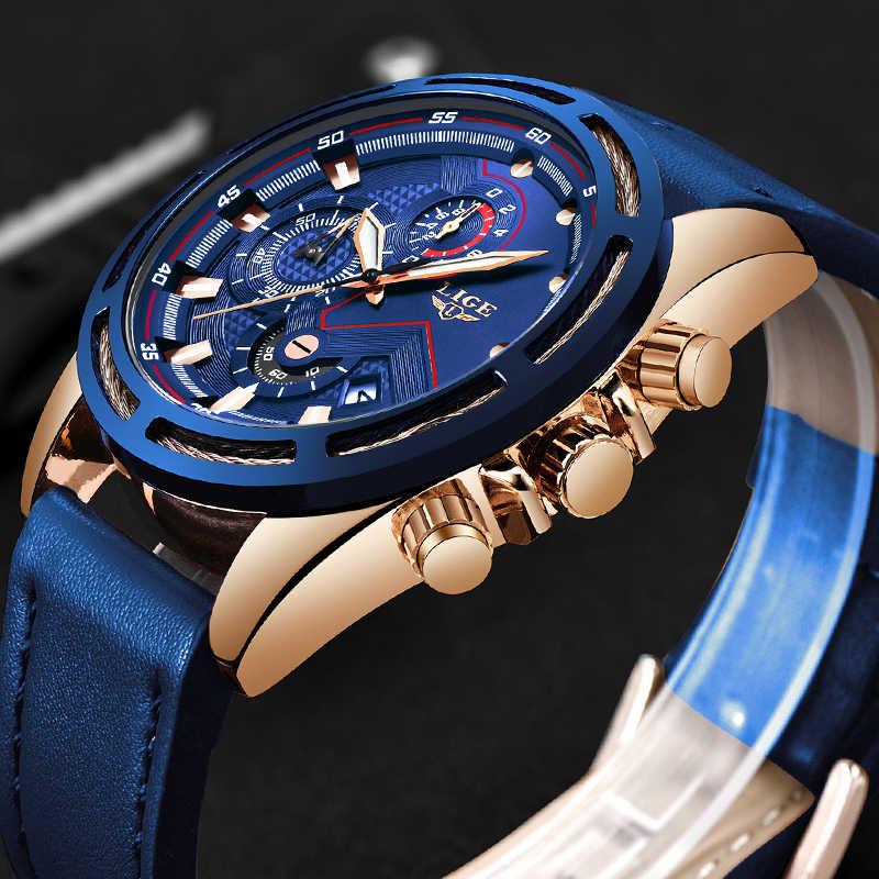 LIGE ใหม่นาฬิกาแฟชั่นผู้ชายกีฬานาฬิกาควอตซ์หนังสีฟ้าหรูหรานาฬิกากันน้ำ Relogio Masculino