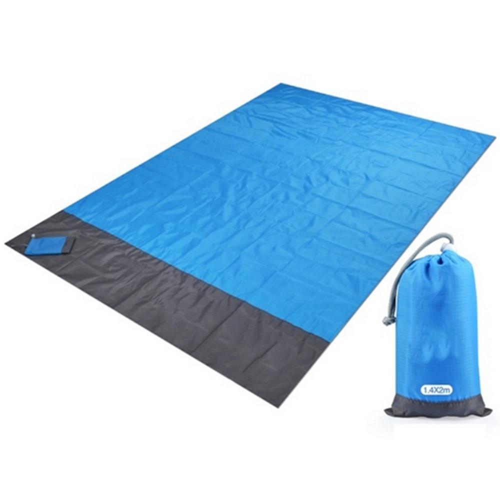 2x2.1m Waterproof Pocket Beach Blanket Folding Camping Mat Mattress Portable Lightweight Mat Outdoor Picnic Mat Sand Beach Mat