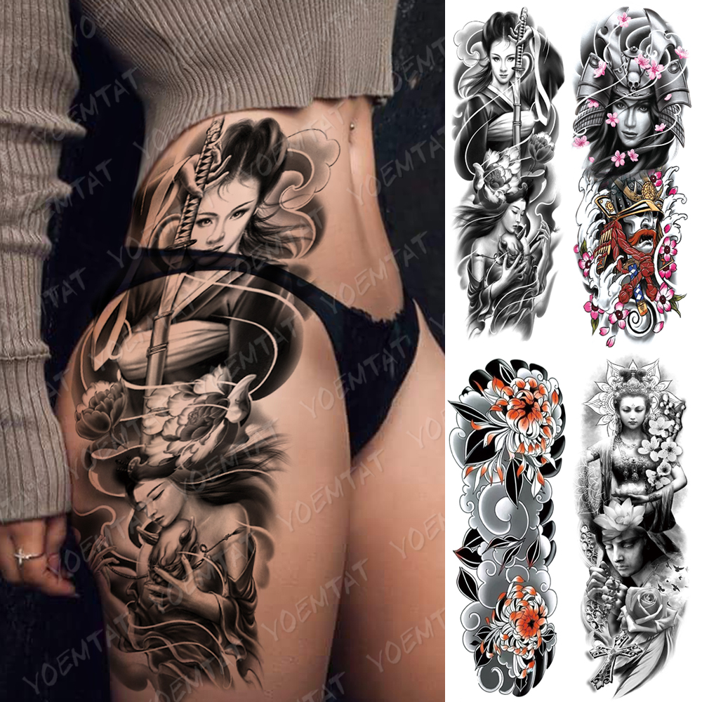 Large Arm Sleeve Tattoo Japanese Geisha Samurai Waterproof Temporary Tatto Sticker Gun Waist Leg Body Art Full Fake Tatoo Women