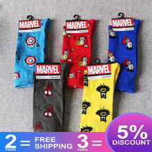 Mannen Sokken Marvel Comics Hero Sokken Cartoon Iron Man Captain America Cosplay Kniehoge Sokken Spiderman Thor Hulk Casual sokken(China)