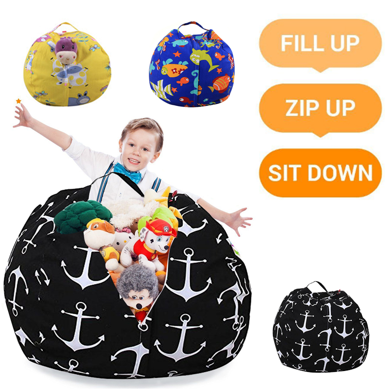 18 Inch Comfortable Cartoon Plush Toy Organizer Bean Bags Towels Kids Sofa with Carrier Handle Interesting Storage Pouch