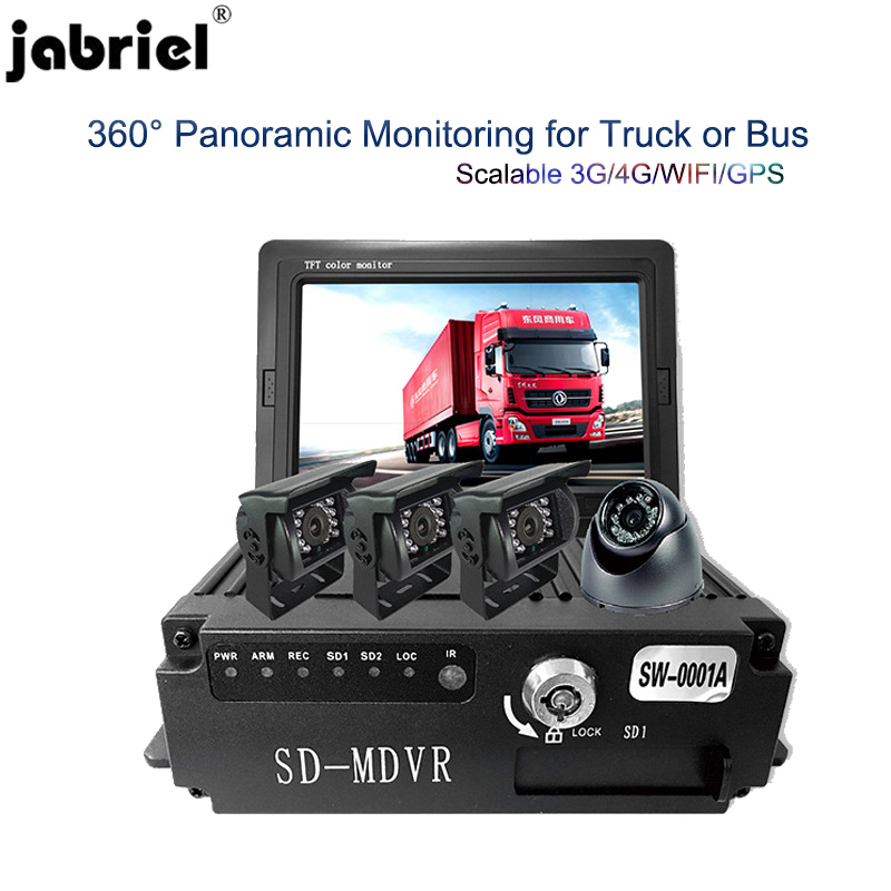 Jabriel Car Dvr Monitor Car-Camera Video-Recorder Trucks Display Sd-Card 4-Lens Night-Vision