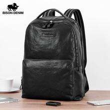 BISON DENIM Vegetable Tanned Genuine Leather Backpack 15 inches Laptop Bag Male Travel Backpack Schoolbag For men and womenN2953