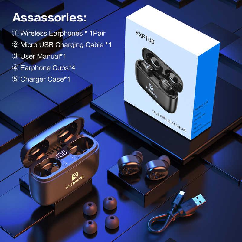Auriculares inalámbricos FLOVEME TWS 5,0, auriculares con pantalla LED, auriculares con sonido estéreo 3D para iOS y Android