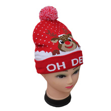 Hot Warm Knit Christmas Hat Colorful Glow Funny Elk Cap New Year Gift Adult Child Cute Hair Ball