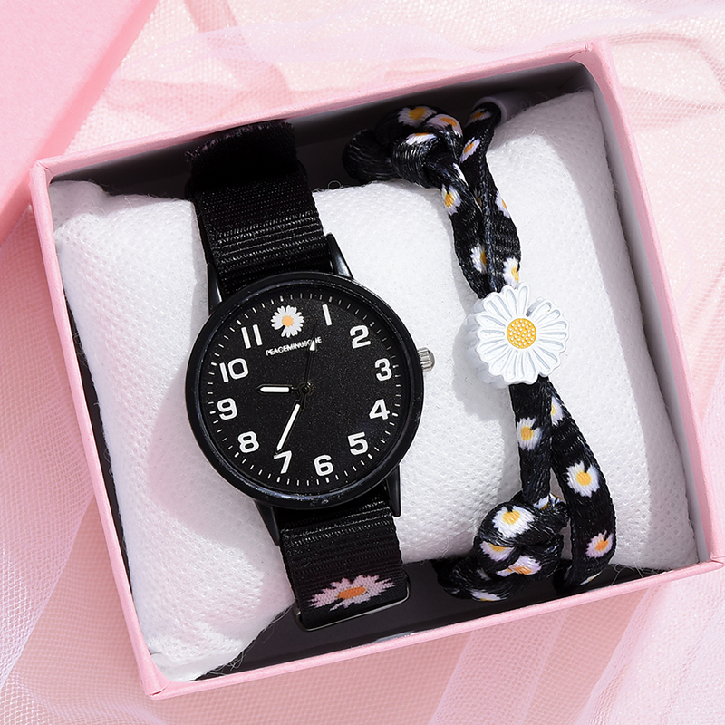 Nylon Strap Style Quartz Women Watch Daisy Fowers Watch For Women Fashion Casual Wrist Watch Ladies Wristwatches Montre Femme