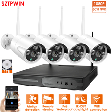 8CH 1080P HD Wireless NVR Kit P2P 1080P Indoor Outdoor IR Night Vision Security 4pcs 2.0MP IP Camera Wireless CCTV System цены онлайн