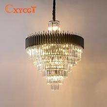 купить Modern Luxury Living Room LED Chandelier High Quality Black Crystal Glossy Hanging Lamp по цене 47317.34 рублей