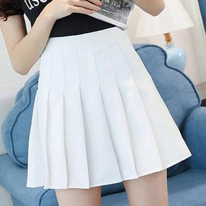 Girls Women High Waist Pleated Mini Skirt Slim Waist Casual Tennis uniform Skirt Fashion mujer Solid Vogue Dropship#0710