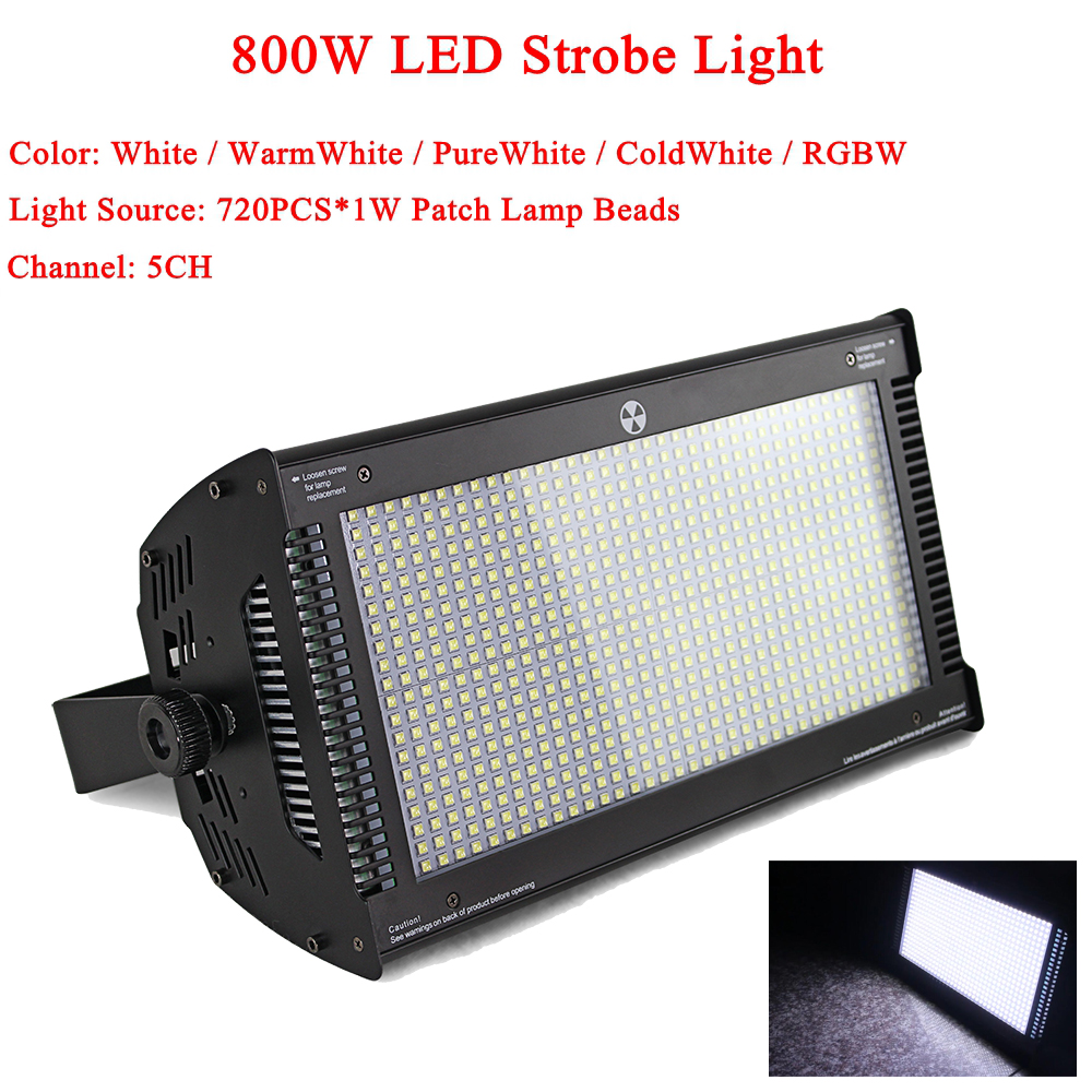 High power 800W led rgbw strobe light with dmx512 led wash stage lighting for ktv bar disco aluminum housing 3 pin XLR connect
