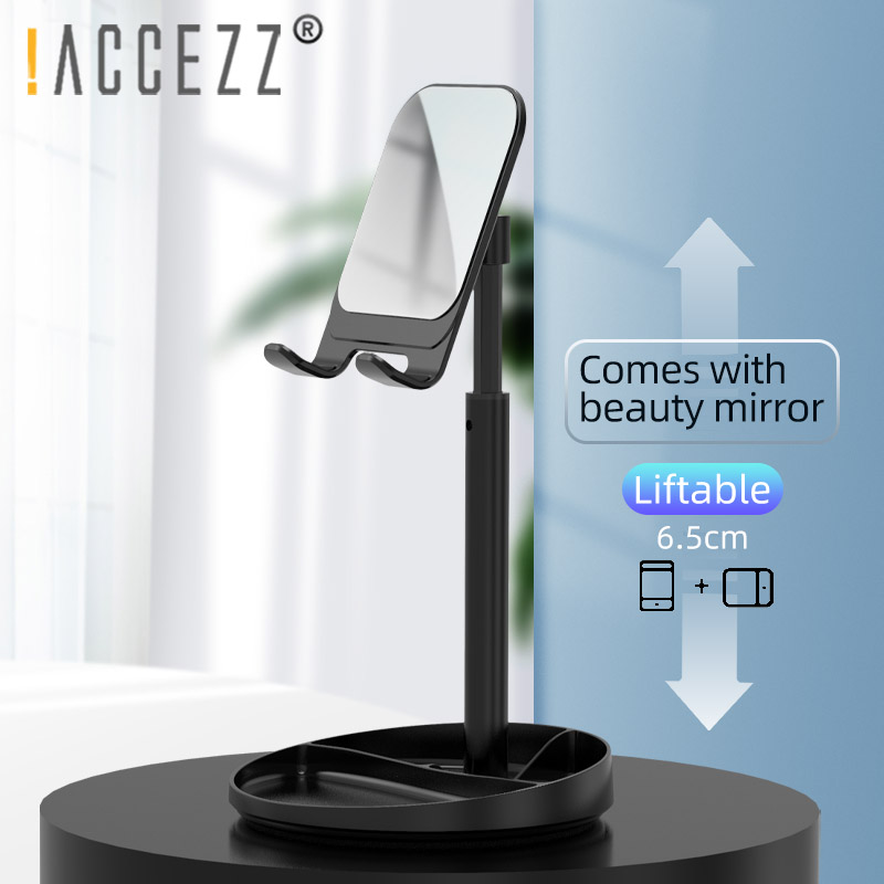 !ACCEZZ Telescopic Phone Stand Holder With Mirror For IPhone Samsung Xiaomi Adjustable Phone Holder For Ipad Mini Tablet Bracket
