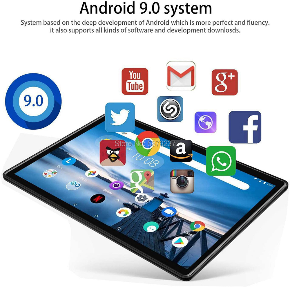 Newest 10 Inch Tablet PC Android 9.0 Quad Core 32GB ROM 3G Wifi Bluetooth GPS Phone call Glass IPS 1280*800 HD Screen