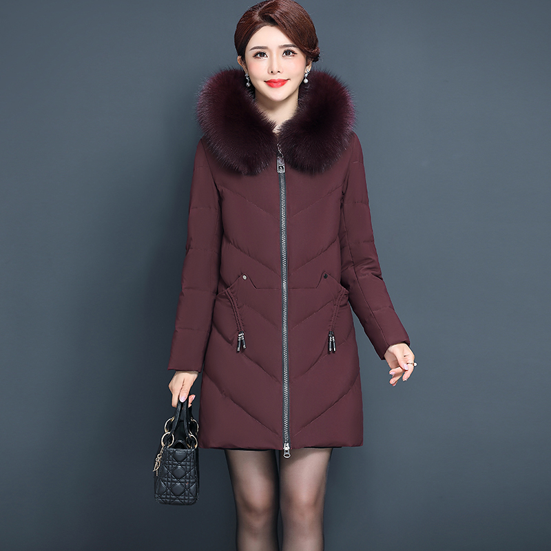 Plus Size Winter Down Jacket Women Duck Down Coat Female Real Fox Fur Hooded Woman Clothes Long Parka Jacket Hiver 8813WE