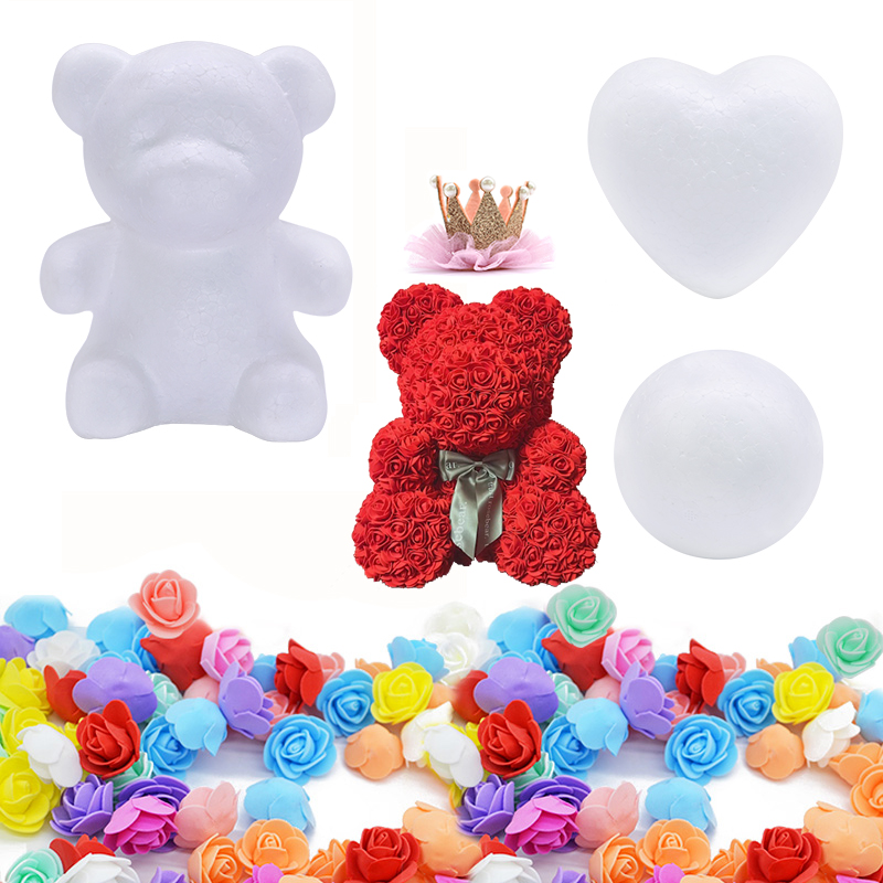 Foam Rose Mold Heart-Ball-Ornaments Teddy Bear Wedding-Gift Artificial-Rose Christmas title=
