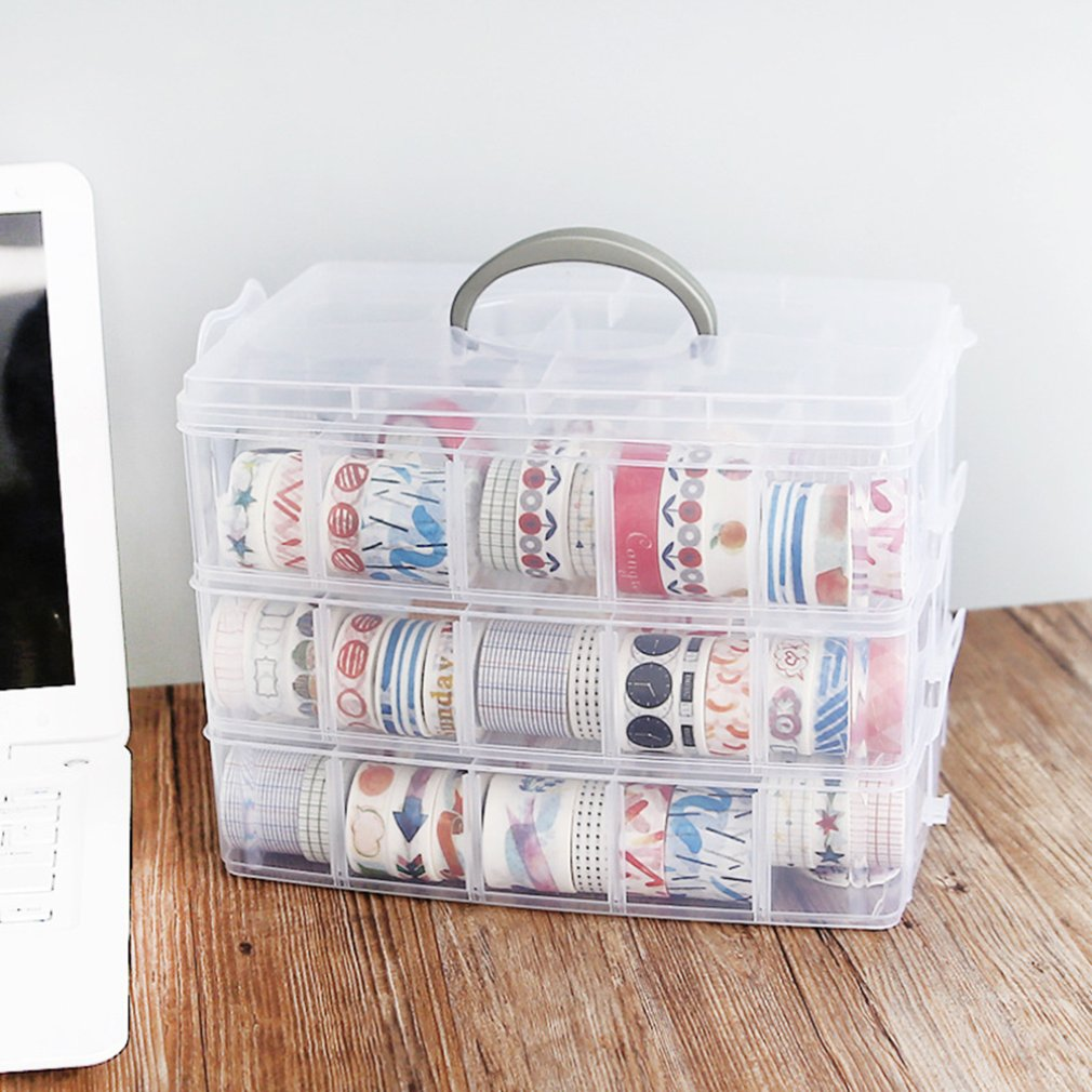 OUTAD Foldable Three-layer Tape Transparent Storage Box Separate Tape Stickers Tool Manager Transparent Plastic Office Organizer