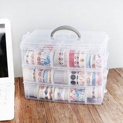 OUTAD składana taśma trójwarstwowa przezroczyste pudełko do przechowywania oddzielne naklejki na taśmie menedżer narzędzi przeźroczyste tworzywo sztuczne organizator biurowy