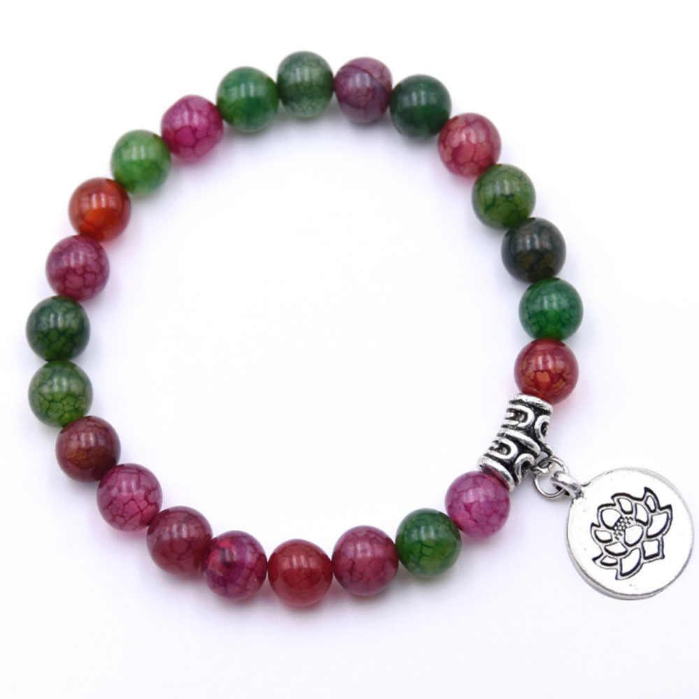 Bracelet en pierre naturelle Bracelet Yoga Chakra Mala Bracelet OM Lotus femmes hommes Bracelet à breloques en perles bijoux Pulseras livraison directe