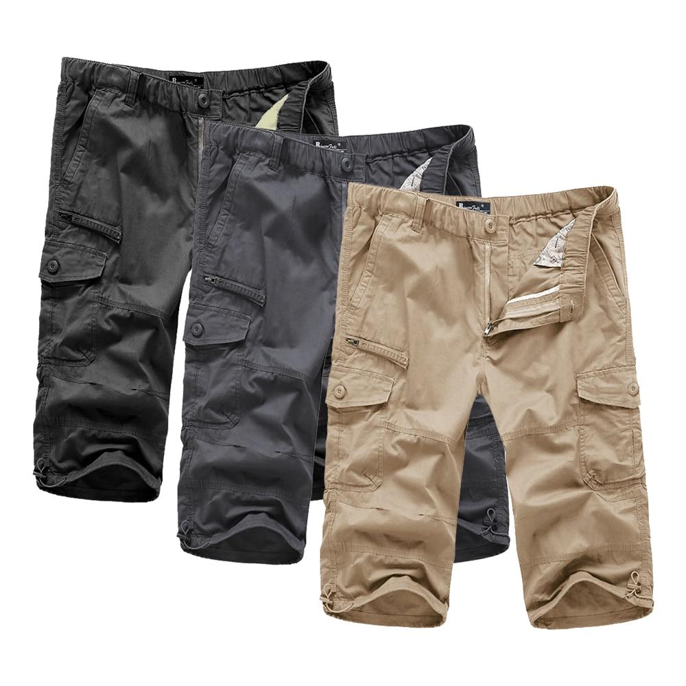 2019 Large Size Elasticated Waist Shorts For Men Pure Cotton Military Cargo Secure Pocket Falda Hombre Man Bermudas Men's Shorts