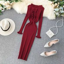 NiceMix Autumn Winter Warm Women Maxi Dress Thick Long Sleeves Slash Neck Bodycon Dresses Long Knitted Lurex Solid Slim Sexy(China)