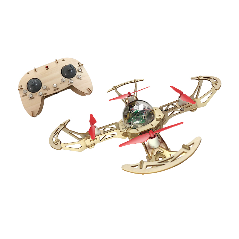 Newest DIY Mini Micro Wooden Quadcopter RC Drone WIFI APP Remote Control FPV With Camera Welding-Free Assembly Teaching Copter