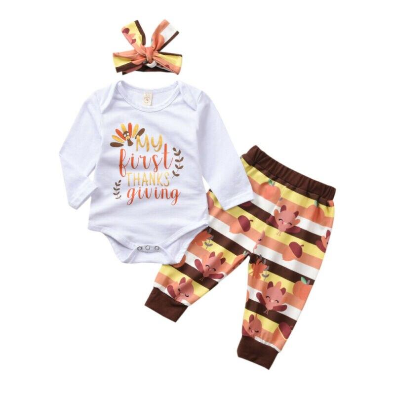 Mein 1 Erntedankfest Saugling Madchen Kleidung Turkei Oberteil Hose 3pcs 0 24m Clothing Sets Aliexpress