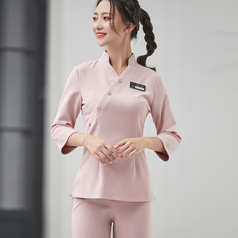 2019 New Fashion Fall And Winter Spa Uniform Beauty Hospital Nurse Top+Pants Set Beautician Work Clothing Free Shipping Workwear