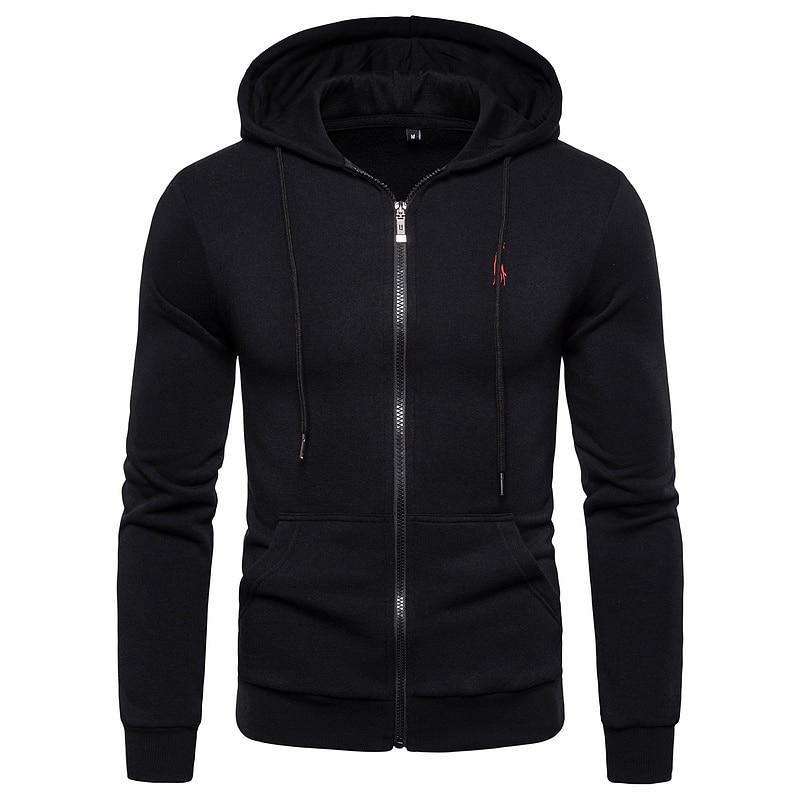 2019 New Autumn Winter Cotton Hoodied Mens Sweatshirts Solid Hoody Fleece Thick Hoodies Men Sportswear Zipper Sweatshirts Men 14