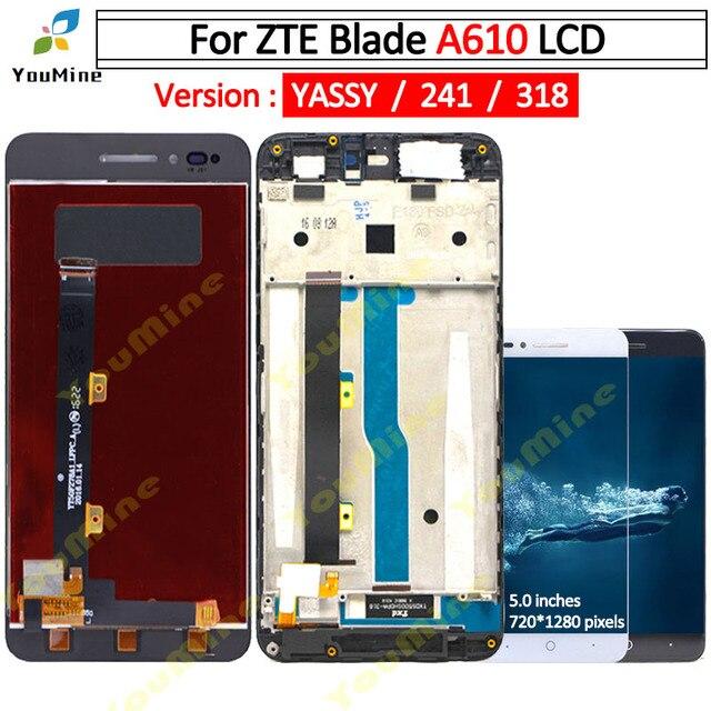 Per ZTE Lama A610 Display LCD Dello Schermo di Tocco di HD Digitizer Assembly lcd con cornice Versione 318 / A241 / YASSY per ZTE A610 lcd