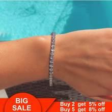 Trendy solid 925 sterling silver 4mm CZ tennis bracelet bangle for women men wedding fashion jewelry wholesale party Bracelets(China)