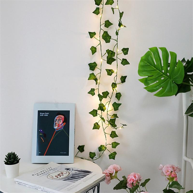10M 100LED Artificial Plants Green Leaf Garland Led String Light Leaf Ivy Vine Home Decorations Christmas New Year Wedding Decor