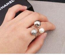 Korean Fashion Women Adjustable Knot Pearl Ring Girl Cute Simple Metal Ball Multi-ring Opening ring
