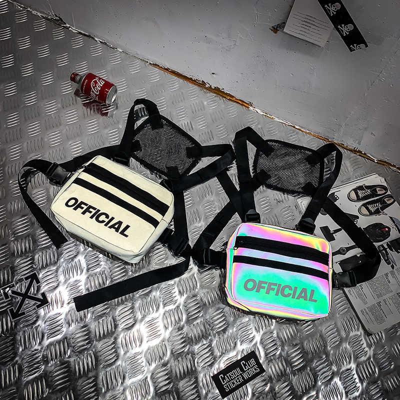 Трендовая нагрудная сумка для женщин, уличная Светоотражающая цветная уличная хип-хоп нагрудная сумка, мужская сумка для дискотеки, тактический жилет, нагрудная сумка G172