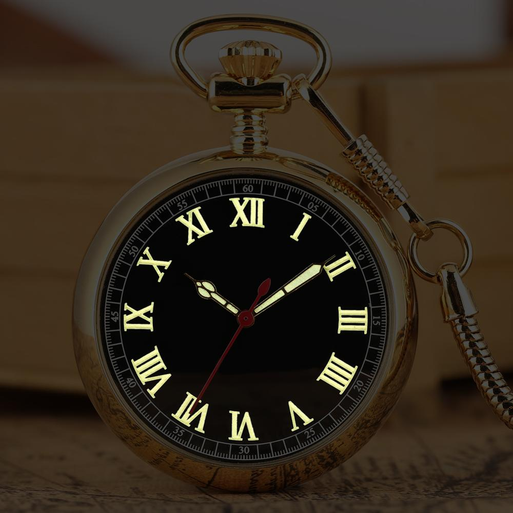 Luxury Luminous Numerals Automatic Mechanical Pocket Watch Self Winding Pocket Snake Fashion Chain Noctilucent Fluorescent Watch