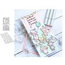 Piggy and balloon Metal Cutting Dies and Clear Stamps for DIY Scrapbooking Card Dies Cut Stencils Paper Crafts Photo Album Decor beautiful flowers metal cutting dies and clear stamps for diy scrapbooking card new dies cut stencils paper crafts photo album