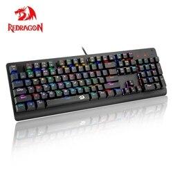 Redragon 2019 nowy K581 RGB USB mechaniczna klawiatura do gier niebieski przełącznik podświetlany Led 104 klucz przewodowa gra komputerowa klatek na sekundę mops overwatch