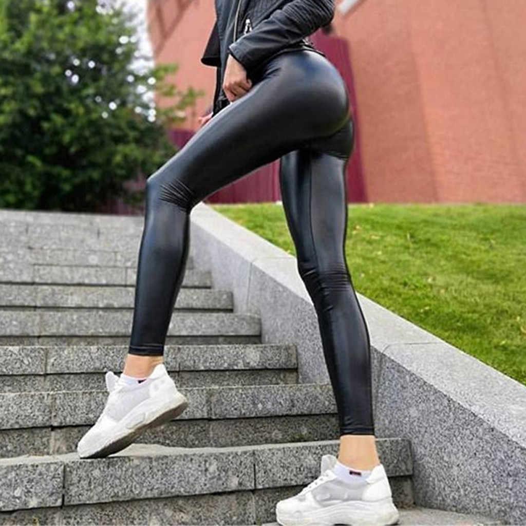 女性レザーパンツボトムヒップアップ爆弾スリム 9 分パンツフェイクレザー PU タイツパンツ黒ボディコン pantalones mujer 2019