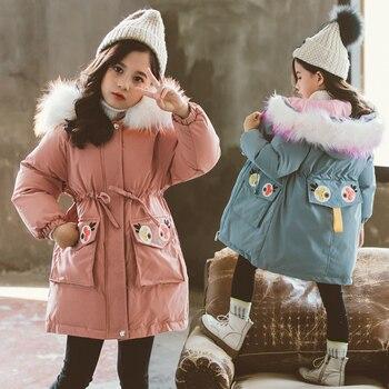 2019 Girls Winter Jacket Clothing Thicken Warm Coat Children Winter Hooded Down Cotton Jacket 4 10 12 Years Korean Kids Clothes