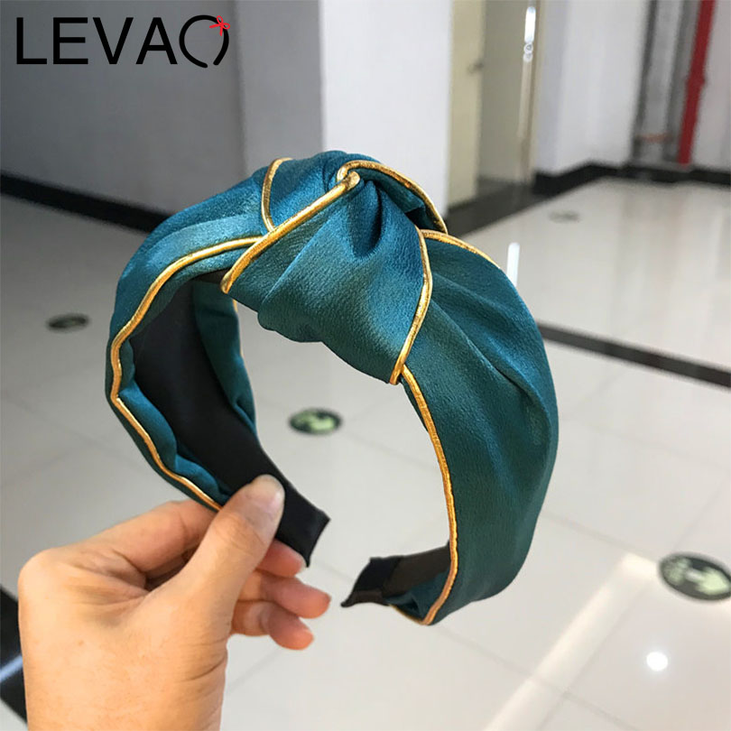 LEVAO Korean Satin Solid Knotted Girls Turban Golden Rim Bezel Holder Headwear Headband Hairband Ladies Women Hair Accessories