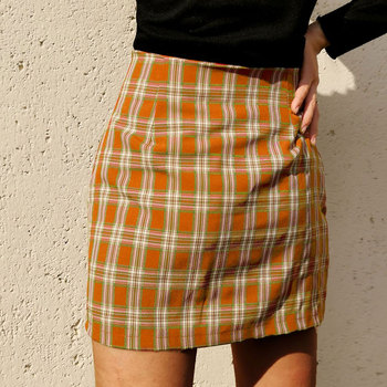 Jocoo Jolee Women Fashion Cotton Plaid Bodycon Skirt Spring Europe Style Split Elegant Chic Skirts High Waist Wild Bottom 4