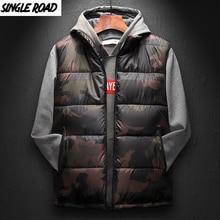 SingleRoad ฤดูหนาวเสื้อกั๊กชาย 2019 Camouflage COMP เสื้อแขนกุดชาย Ultralight WARM Black Mens Cotton เสื้อ Windproof